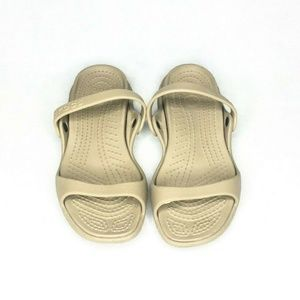 Crocs Womens Slide Sandals Double Strap Tan Beach